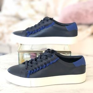 Tory Sport Navy Calf  Leather Ruffle Sneaker | 6.5